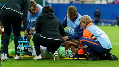 7255a2ff7e0 Faith Michael is stretchered off the pitch during the 2019 Fifa Women's  World Cup match between Norway and Nigeria in Reims, France