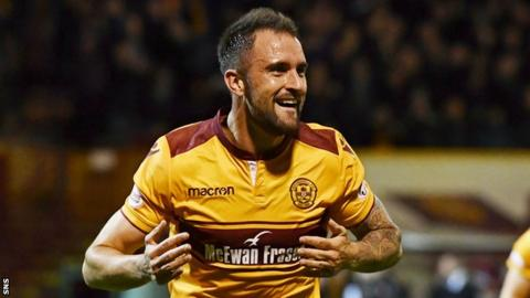 Peter Hartley celebrates scoring for Motherwell against Aberdeen