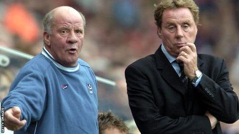 Jim Smith and Harry Redknapp on the sidelines at Portsmouth.