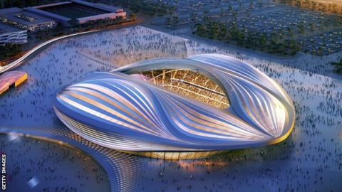 An artist's impression of a stadium to be built for the men's 2022 World Cup in Qatar