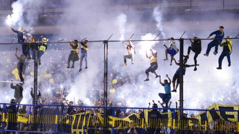 La Boca, Argentina, May 9: Fans of Boca Juniors cheer their team during the celebration event after winning the Argentina Superliga 2017/18 at Estadio Alberto J. Armando on May 9, 2018 in La Boca, Argentina. Boca Juniors fans could not attend the game against Gimnasia y Esgrima La Plata as no away fans are allowed in Argentina.