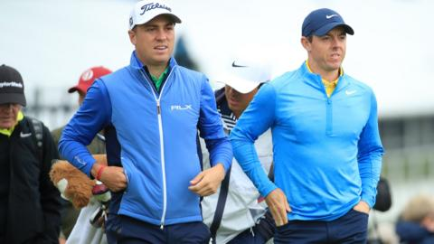 Northern Ireland golf player Rory McIlroy and US golf player Justin Thomas