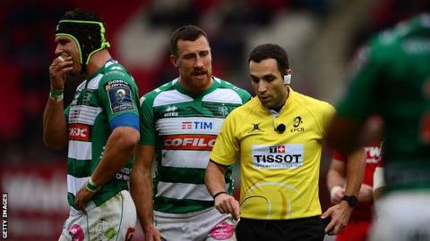 Benetton nearly won despite having flanker Francesco Minto sent off midway through the first half