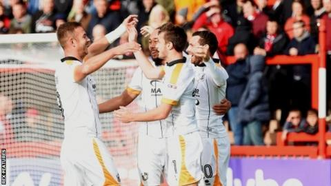 Tom Pope and his Port Vale team-mates