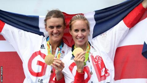 Heather Stanning (left) with Helen Glover