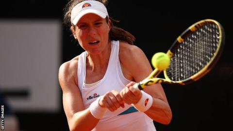 Johanna Konta en route to victory on Friday at the Italian Open