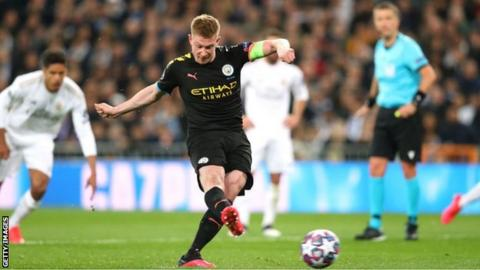 Kevin de Bruyne scored a penalty in Manchester City's 2-1 away win over Real Madrid in the first leg of their last-16 Champions League tie in February