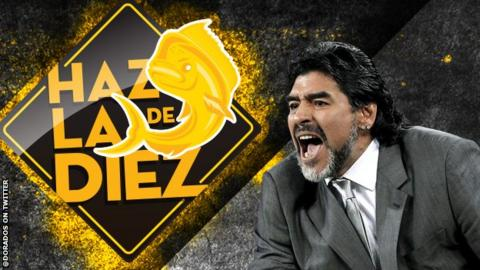 Diego Maradona image posted on Twitter by Dorados