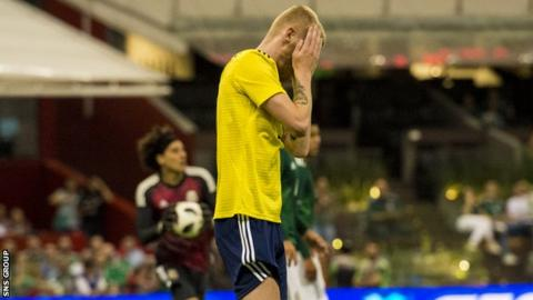 Oli McBurnie was inches away from scoring his first international goal