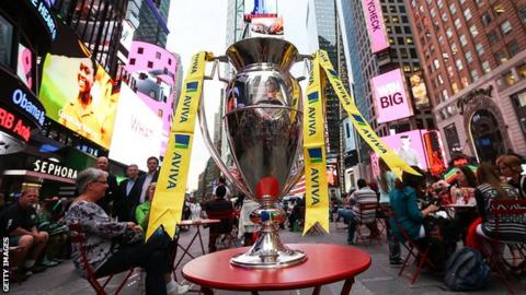 Premiership trophy in Times Square, New York