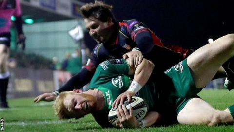 Darragh Leader scored Connacht's second try in Galway