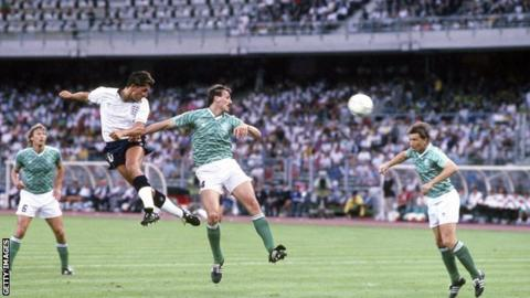 Gary Lineker heads the ball against West Germany in the 1990 World Cup semi-final