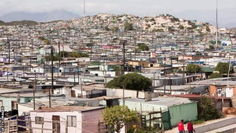 The Khayelitsha township is overlooked by the iconic Table Mountain