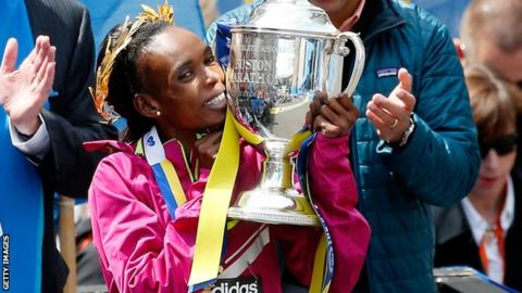 Rita Jeptoo wins the Boston Marathon