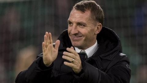 Brendan Rodgers applauds Celtic fans after victory over Kilmarnock