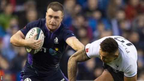 Stuart Hogg playing for Scotland against Fiji