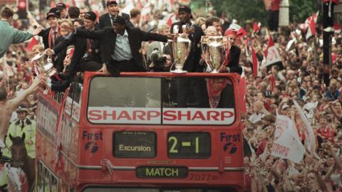 Manchester United celebrate Treble win of 1999
