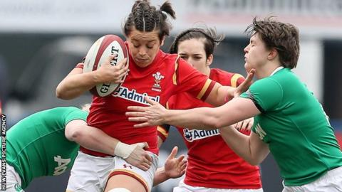 Wales' Sioned Harries in action against Ireland