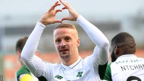 Celtic striker Leigh Griffiths celebrates against Hamilton Academical