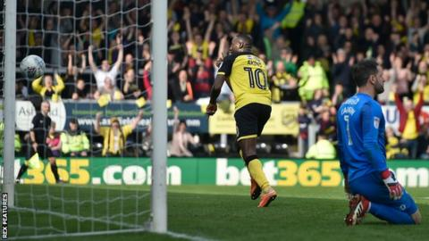 Lucas Akins scores Burton's third goal against Derby