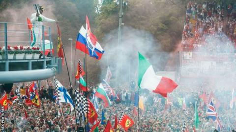 Lewis Hamilton celebrates winning the Italian Grand Prix