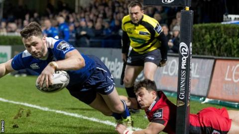 Leinster winger Barry Daly scored the only try of the first half at the RDS