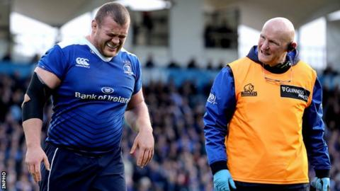 Jack McGrath grimaces as he is forced off in the early stages of Leinster's Pro12 semi-final defeat by the Scarlets