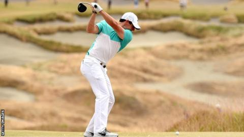 Rory McIlroy tees off at Chambers Bay