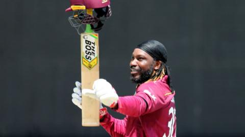 Chris Gayle salutes the crowd