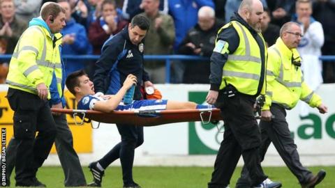 Brad Lyons was injured during Coleraine's 2-1 win over Linfield