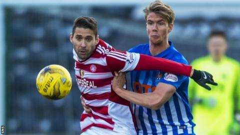 Kilmarnock's on-loan debutant Kristoffer Ajer (right) contests the ball with Hamilton's Alexandre D'Acol