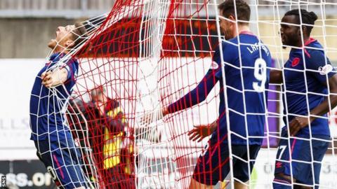 Hearts' Ross Callachan celebrates scoring