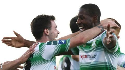 Shamrock Rovers' Joel Coustrain (left) celebrates his strike with fellow goal scorer Dan Carr