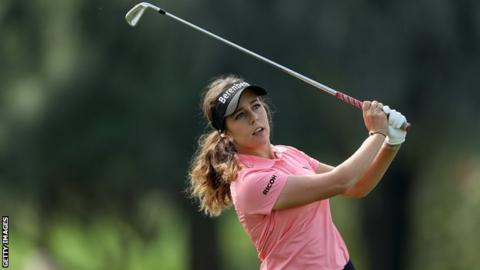 Georgia Hall bogeyed the first before recovering with three birdies in four holes