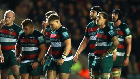 Leicester Tigers players looking despondent