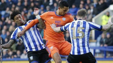 Cardiff City striker Robert Glatzel in action against Sheffield Wednesday