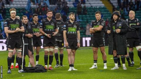 Glasgow players dejected after losing to Leinster