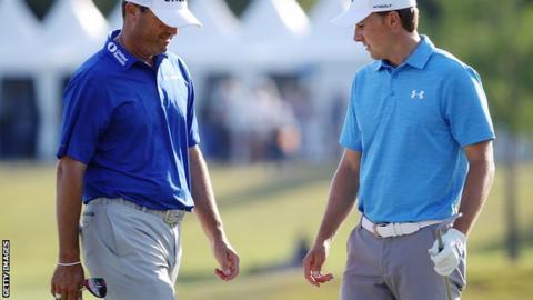 Jordan Spieth (right) with Ryan Palmer