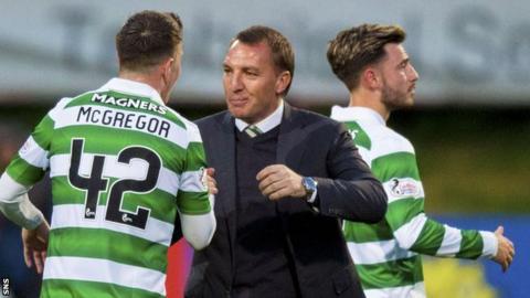 Callum McGregor, Brendan Rodgers and Patrick Roberts