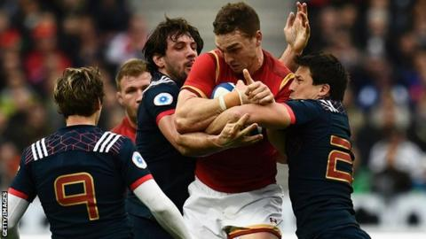 George North runs into strong France defence during Wales' Six Nations match in Paris in 2017