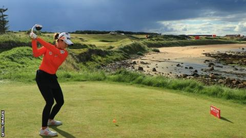 Chella Choi of Korea tees off on the 15th at the Women's British Open at Kingsbarns Golf Links