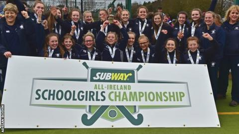 Methodist College Belfast celebrate their Kate Russell Cup success on Friday