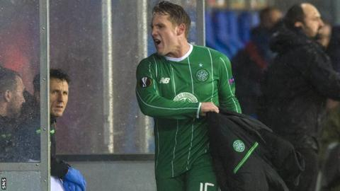 Celtic forward Kris Commons shows his anger