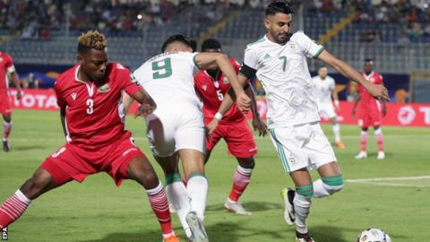 Algeria's Riyad Mahrez playing against Kenya