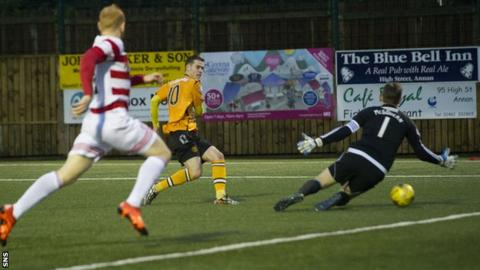 Josh Todd scores for Annan against Hamilton