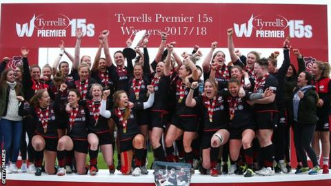 Saracens celebrate their Premier 15s victory in April 2018