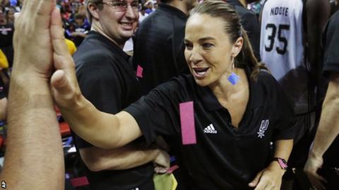 Becky Hammon celebrates leading San Antonio Spurs to the Las Vegas Summer League title