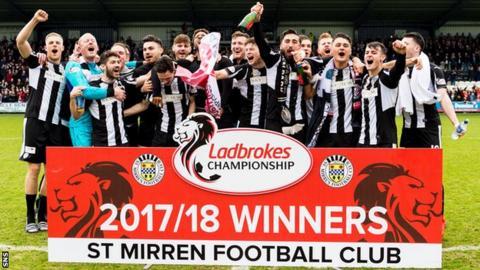 St Mirren celebrate promotion