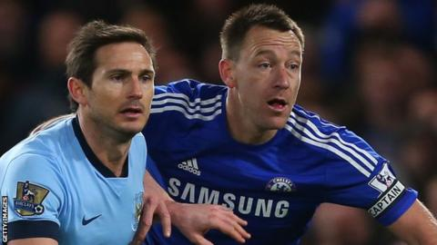 Frank Lampard (left) in action for Manchester City against Chelsea's John Terry