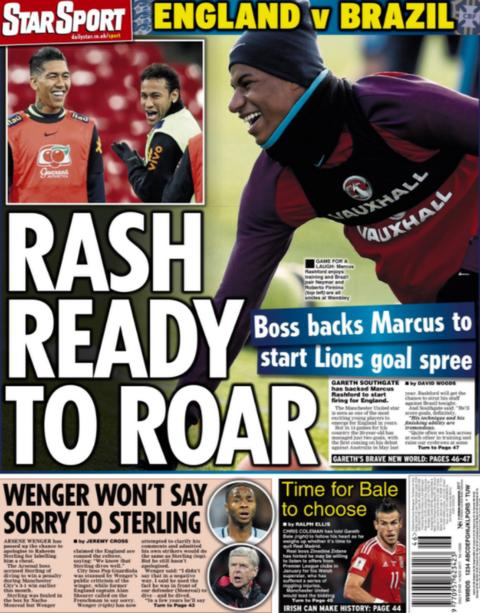 Manchester United and England forward Marcus Rashford features in the Daily Star